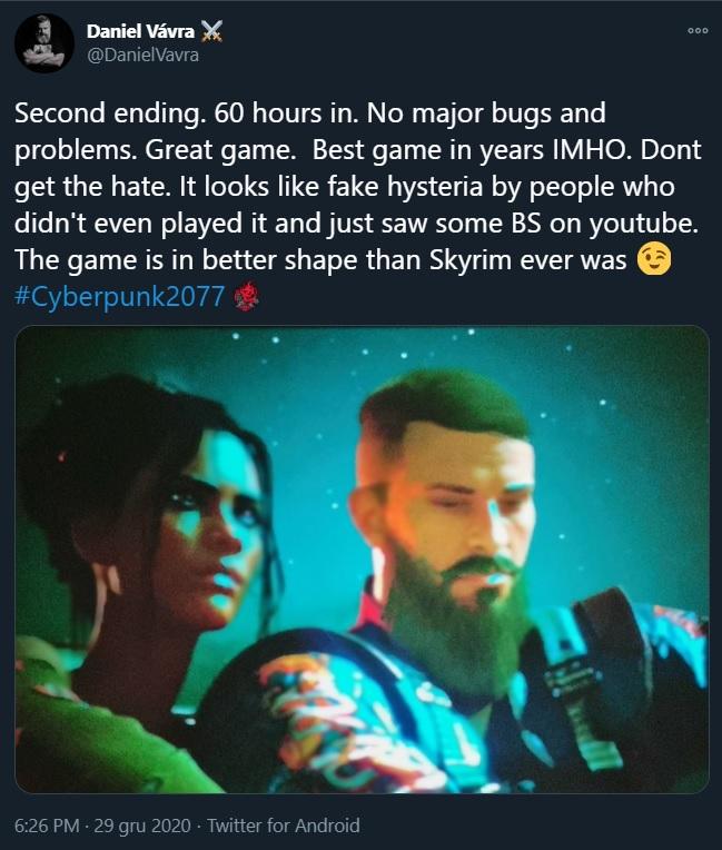 Cyberpunk 2077 in better shape than Skyrim; Kingdom Come creator praises the game