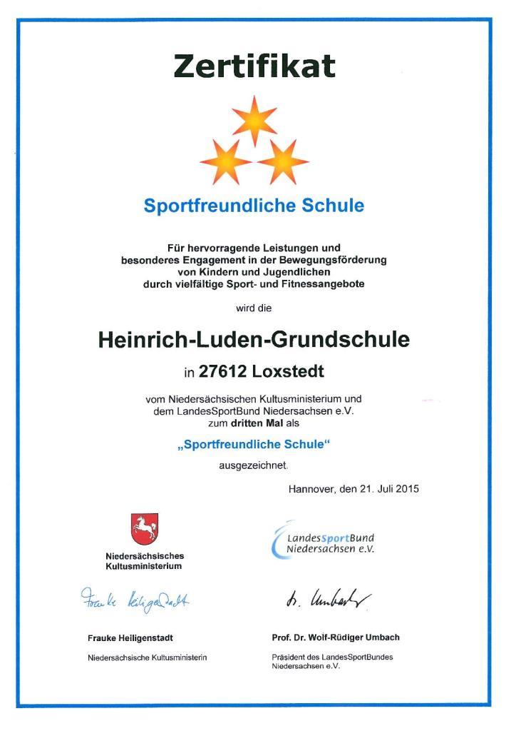 Zertifikat Sportfreundliche Schule 3. Stern