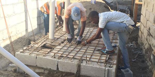 Building latrine in Haiti