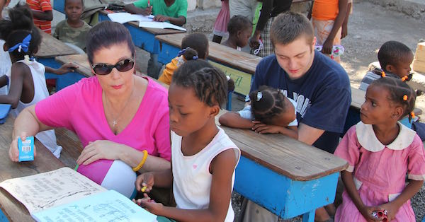 Coloring with children in Haiti