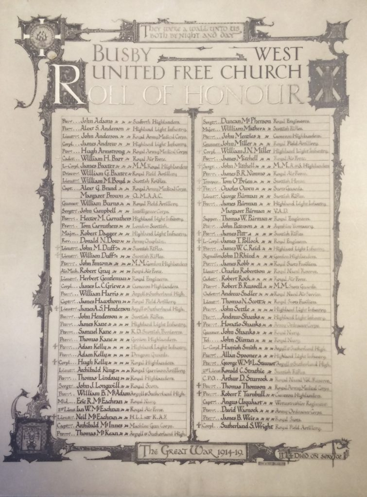 Roll of Honour Busby West United Free Church