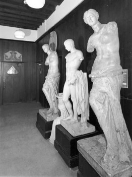 GSA Archives photograph showing plaster casts in corridor of the Mackintosh Building (Archive reference: GSAA/P/7/364/14)