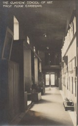 GSA Archives photographic postcard showing Western corridor of the first floor of the Mackintosh Building (Archives reference: GSAA/P/7/369)