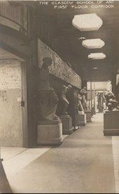 GSA Archives photographic postcard of Eastern corridor on the first floor of the Mackintosh Building (Archives reference: GSAA/P/7/370)