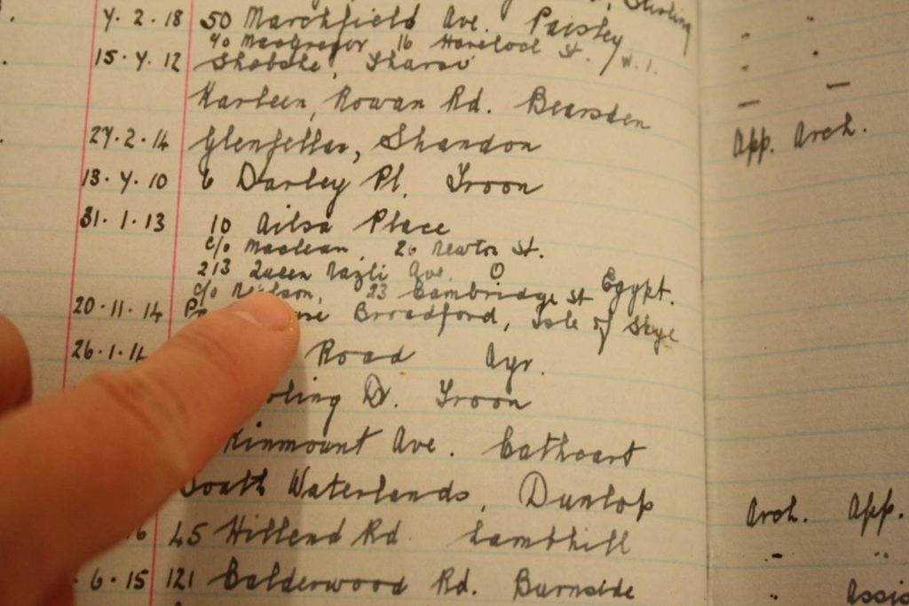 Student register 1910-1919, Records of The Glasgow School of Art (Archive reference GSAA/REG 3/7)