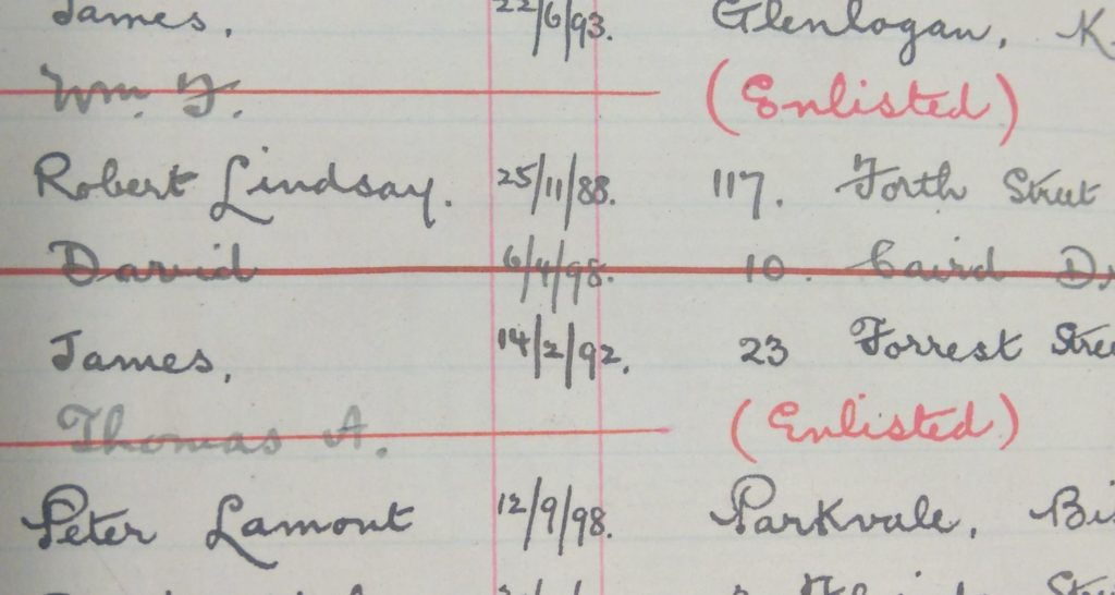 Evidence of students leaving can be seen in the student registers throughout the war period, General student register 1910-1919, Records of The Glasgow School of Art (Archive reference GSAA/REG 3/7)