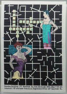Poster for the 1979 Fashion Show by John Skinner. Poster has been printed on Fabric.