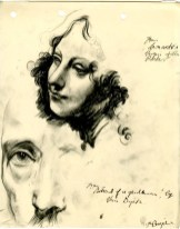 Sketch of a Leonardo Da Vinci and an Anthony van Dyck painting by Robert MacBryde (Archive Reference: GSAA/SEC/1/1940)