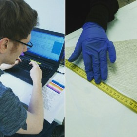 Two of our casual staff Brendan Armstrong and Maria Moreno measuring and documenting textiles in preparation for improved packaging.