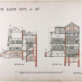 Design for Glasgow School of Art: section on line A.A/section on line D.D, 1910 (Archive Reference: MC/G/89)