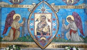 """4. """"Our Lady of Perpetual Succour"""" glass mosaic, St Augustine's Church, Langloan, Coatbridge. Image courtesy of St Augustine's Church, Monklands Heritage Society."""