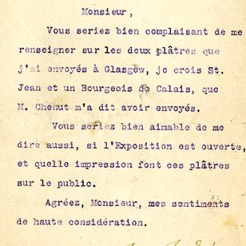 Letter from Auguste Rodin to Newbery (DIR/5/38/1/9b)