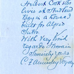 Letter from C A Voysey to Newbery (DIE/5/38/1/18b)