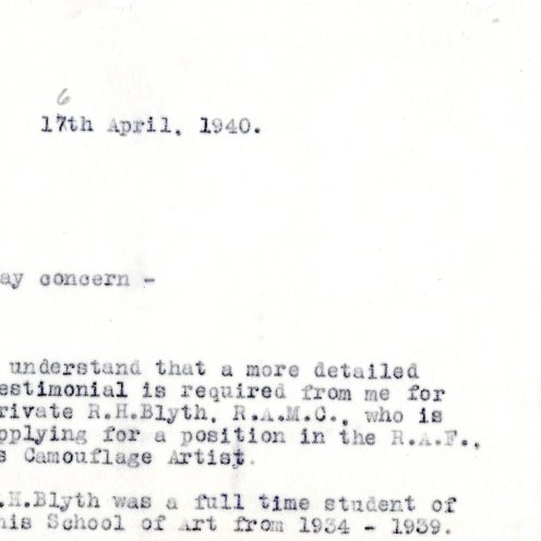 Reference for a student interested in Camouflage work for the RAF (DIR/9/35)