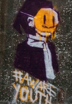 "Photograph of graffiti with the hashtag ""Aware Youth"""
