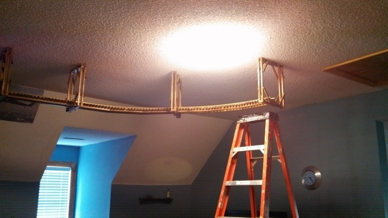 To Install The Brackets I Drilled Two Holes A Few Inches Part And Ed Them With 5 Toggle Bolts Then Through Ceiling Popped