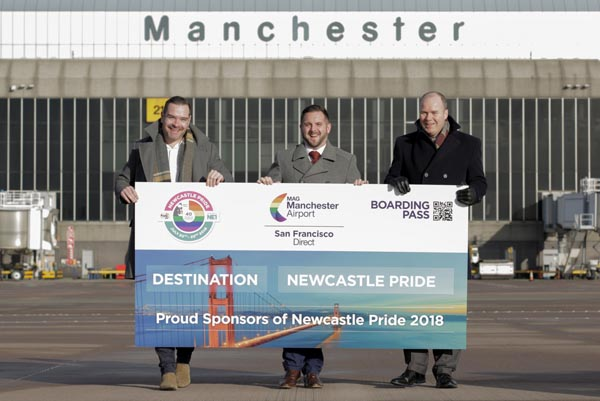 L-R: Seb Thompson, Manchester Airport, Stephen Willis, Newcastle Pride and Patrick Alexander, Manchester Airport