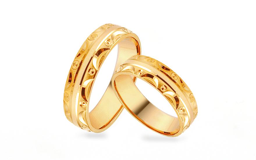 Gold Eheringe mit Muster Breite 5 mm IZOB449  gSchmuckch