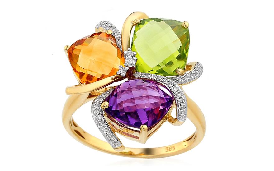 Goldring mit Diamanten und Edelsteinen Greta fr Damen