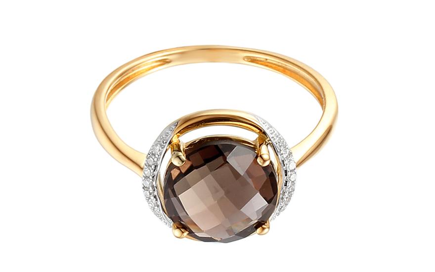 Goldring mit rauchigem Quarzit und Diamanten 0030 ct