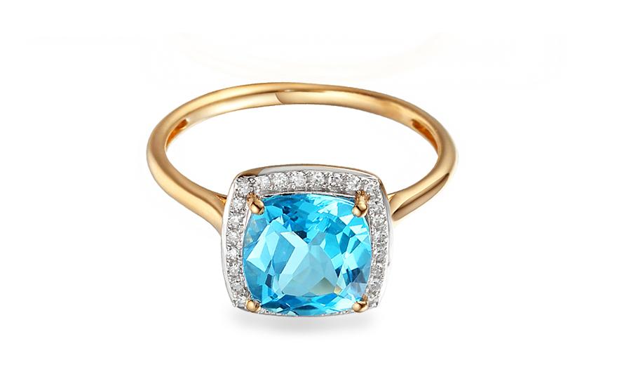 Goldring mit Topas und Diamanten 0090 ct Liriene 2 fr
