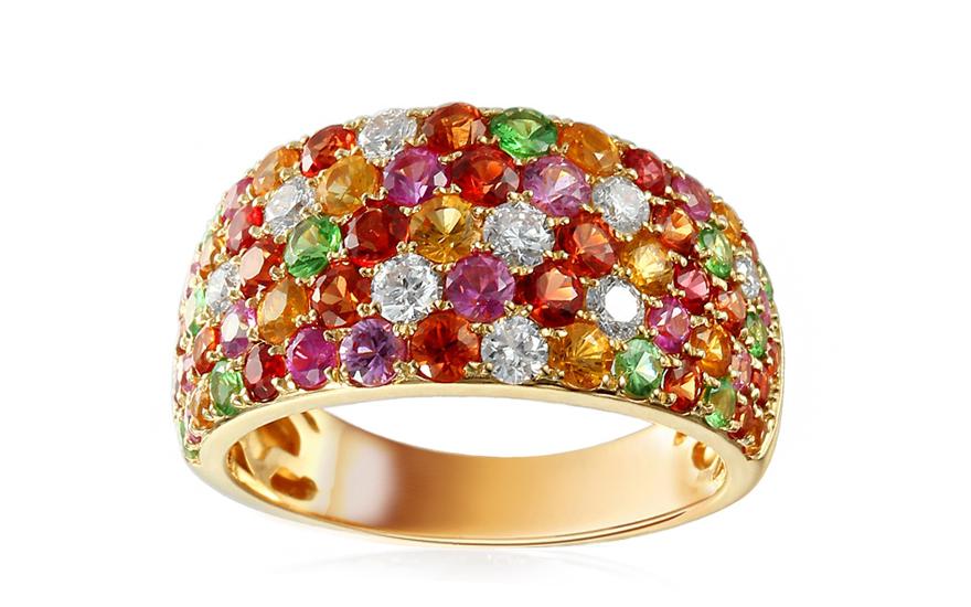 Goldring mit Diamanten und farbigen Saphiren Dayla fr