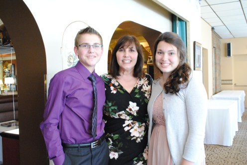 Board President Barb Garofola with student representatives Noah Burda (class of 2017) and Melissa Paravate (Class of 2018)