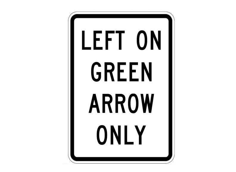 R10-5 Left On Green Arrow Only at Garden Sate High