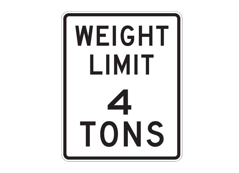 R12-1 Weight Limit 4 Tons Sign at Garden State Highway
