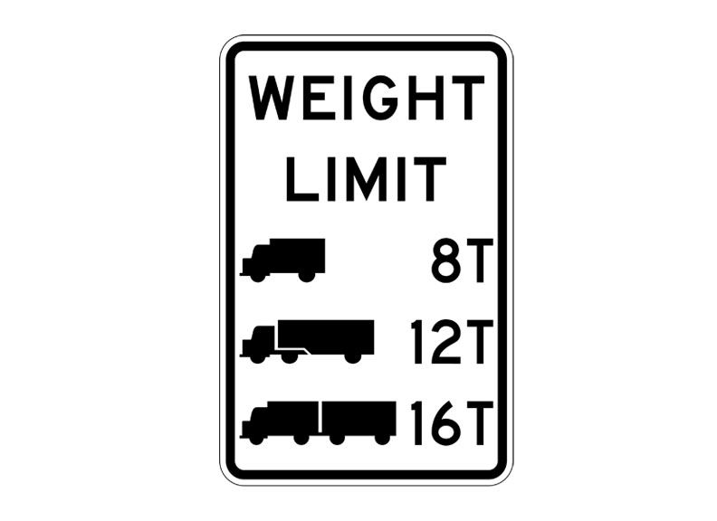 RR12-5 Weight Limit Symbolic SIgns at Garden State Highway
