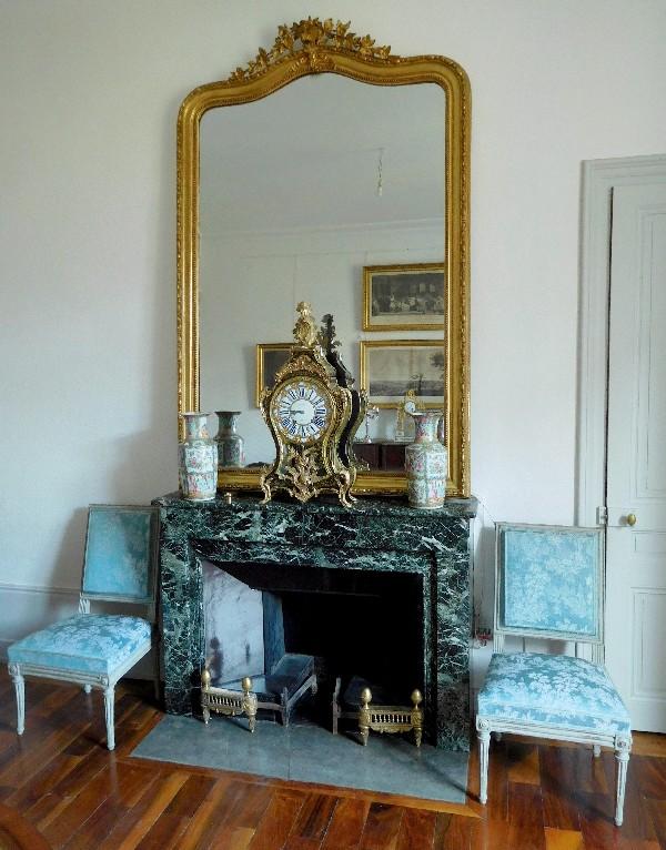 miroir de cheminee en bois dore glace