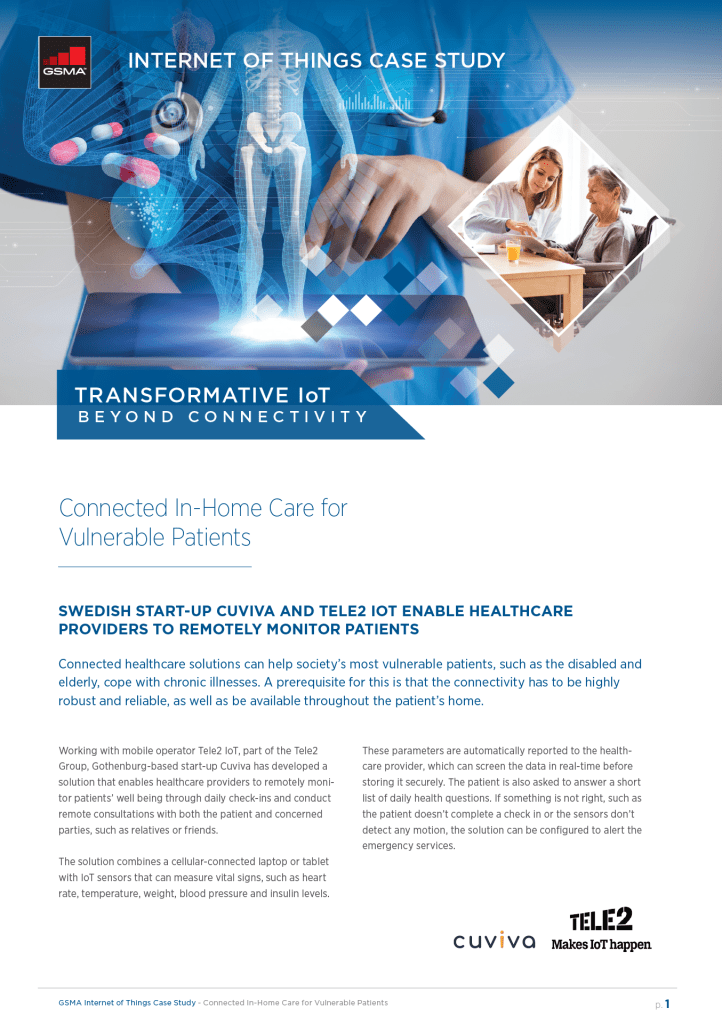 IoT Beyond Connectivity Case Study by Tele2 IoT: Connected In-Home Care for Vulnerable Patients image