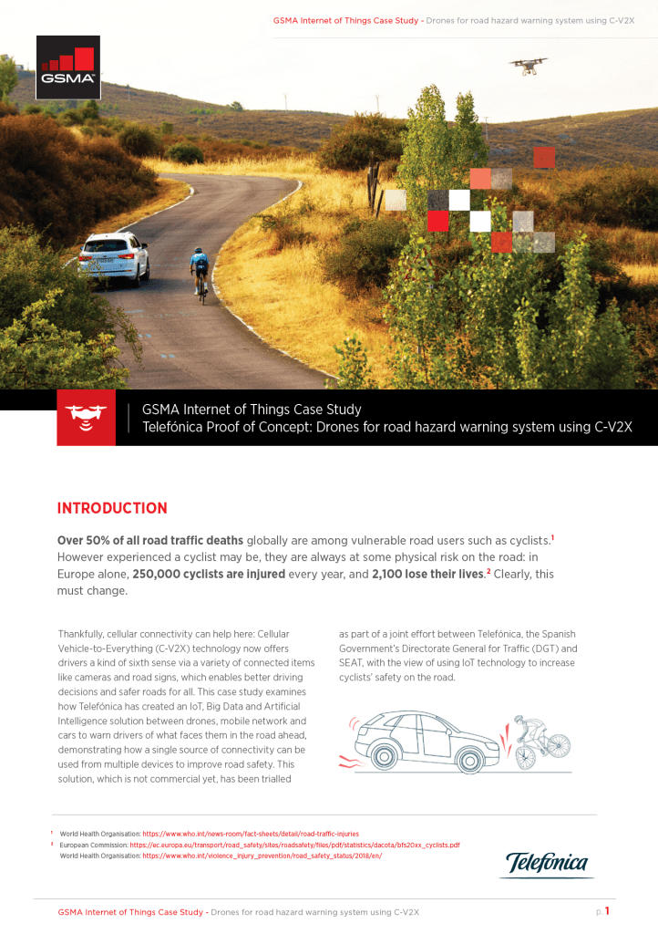 Proof of Concept, by Telefónica: Drones for road hazard warning system using C-V2X image