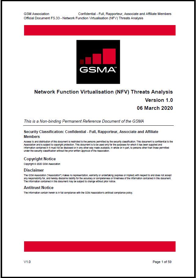 FS.33 Network Function Virtualisation (NFV) Threats Analysis image