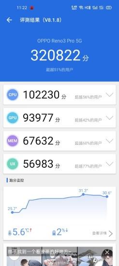 OPPO Reno 3 Pro w AnTuTu / fot. Weibo