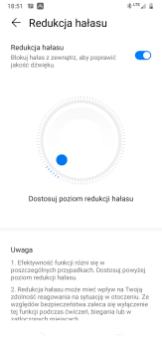 Huawei Freebuds 3: aplikacja, ustawienia ANC (tu niemal max)