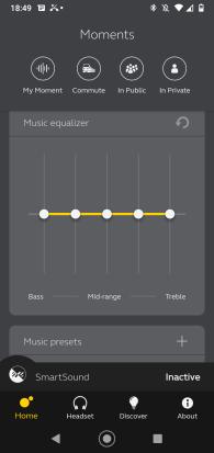 Aplikacja Jabra Sound: ekran główny (3)