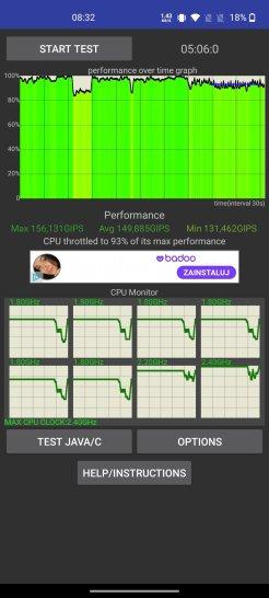 Test wydajności CPU OnePlus Nord pod obciążeniem