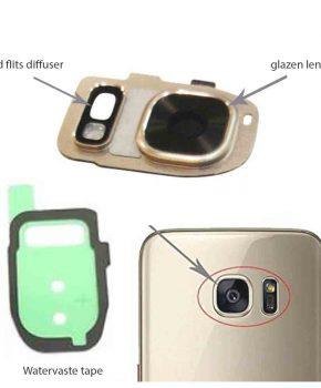 Samsung Galaxy S7/ S7 Edge achter camera lens cover, glas lens en LED diffuser - Goud - compleet