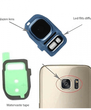 Samsung Galaxy S7/ S7 Edge achter camera lens cover, glas lens en LED diffuser - Blauw - compleet