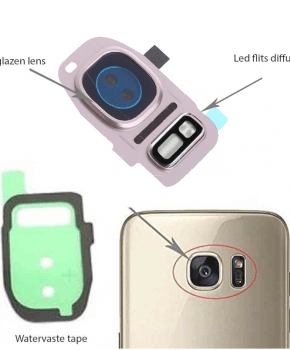 Samsung Galaxy S7/ S7 Edge achter camera lens cover, glas lens en LED diffuser - Rose Gold - compleet