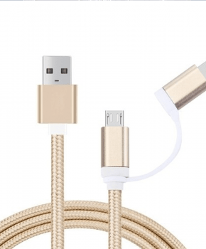 2-in-1 Micro-USB en Lightning compatible naar USB-kabel -  1m - Goud