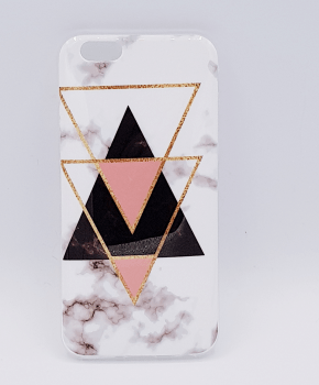 Voor IPhone 6 Plus hoesje - marble triangels black & pink