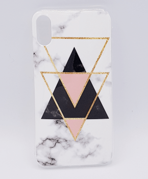 Voor IPhone XS Max hoesje - marble triangels black & pink