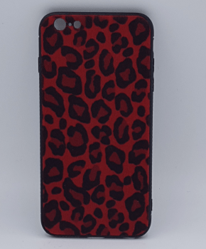 iPhone 7 hoesje  - panter look - pluizig -rood