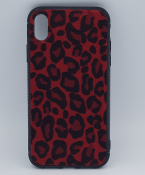 iPhone XS MAX hoesje - panter look - pluizig -rood