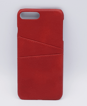 Voor iPhone 7 Plus- kunstlederen back cover / wallet - rood