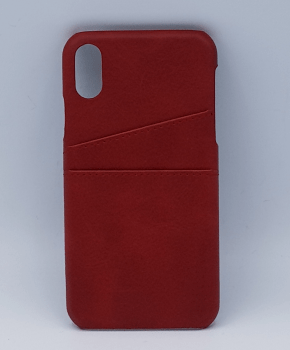 Voor iPhone X - kunstlederen back cover / wallet - rood