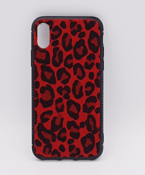 iPhone X hoesje - panter look - pluizig -rood