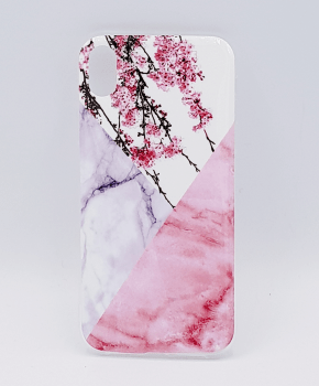 iPhone XS Max - hoesje - Triangle Marble flower pink